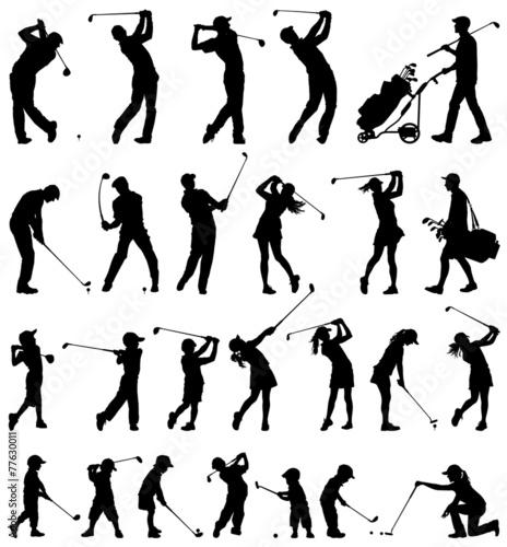Golfer Silhouetten Vektor-Sammlung Fototapete