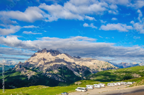 Photo  Campers in the parking near shelter Auronzo, South Tyrol, Italy