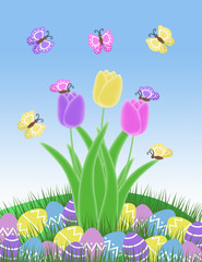 butterfly easter egg and tulip spring illustration