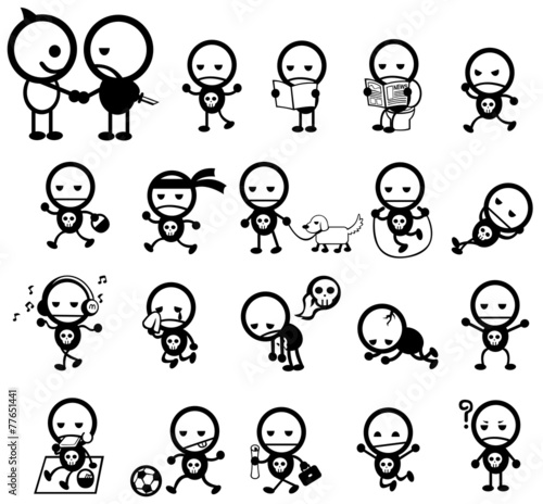 Tablou Canvas Mr. Surly expression and activity icon collection set, create by