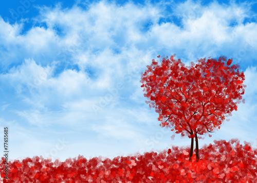 Fototapety, obrazy: фон сердечное дерево