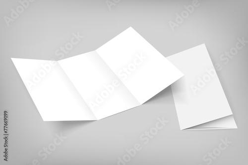 blank vector tri fold mockup on gray Fototapet