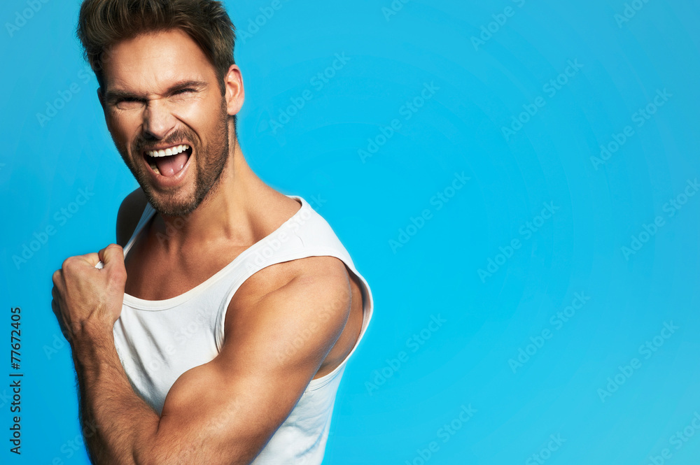 Fototapety, obrazy: Portrait of happy young man indoors with very handsome face