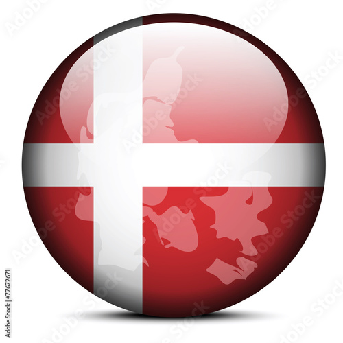 Photo  Map on flag button of Kingdom of Denmark