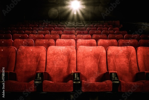 Photo  Empty comfortable red seats with numbers in cinema