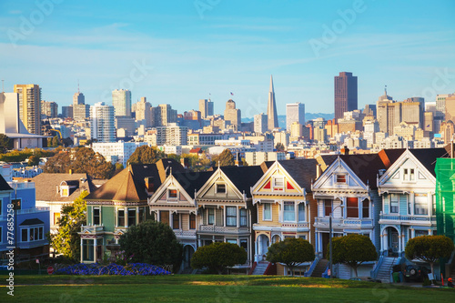 San Francisco cityscape as seen from Alamo square park Poster