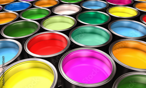 Colorful paints in cans  Canvas Print