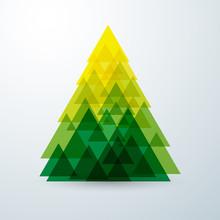 Christmas Tree Abstract Triangle With Green Creative Art Geometr
