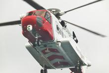 Coastguard Rescue Helicopter In Action. Scotland. UK