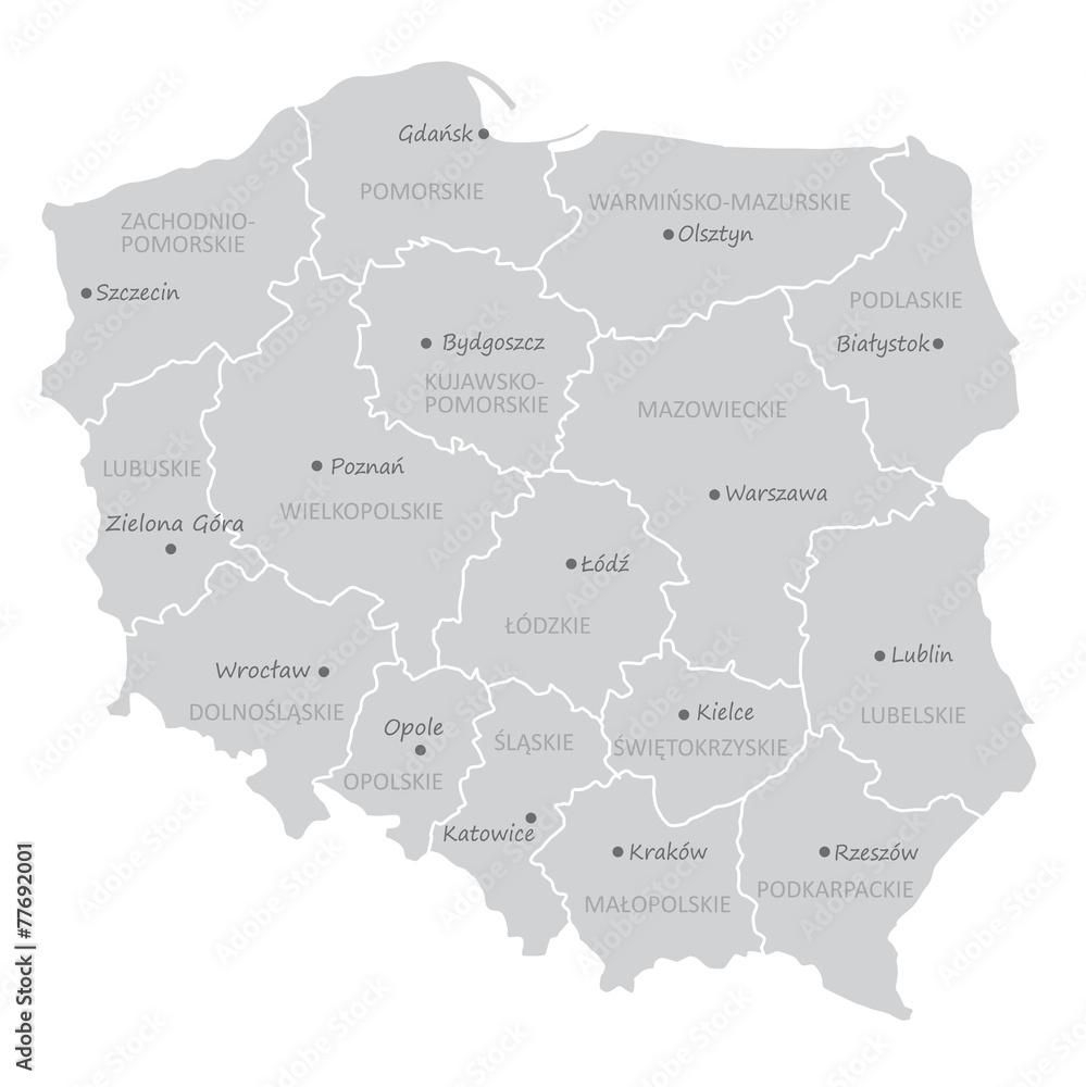 Podzial Administracyjny Polski Wojewodztwa Obraz Na Plotnie