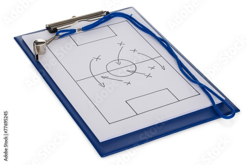 Fotografía  Whistle And Soccer Tactic Diagram On Paper