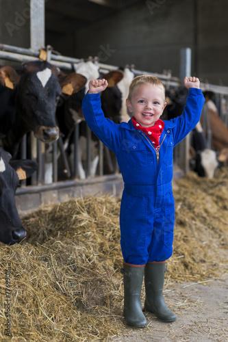 Fotografia, Obraz  kind grappig op de boerderij