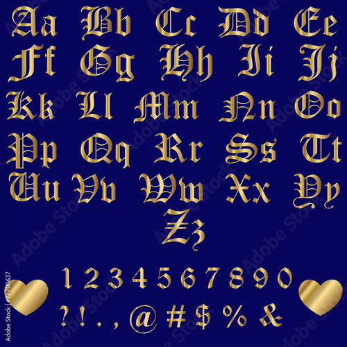 Old English Gold Alphabet Letters and Numbers Poster