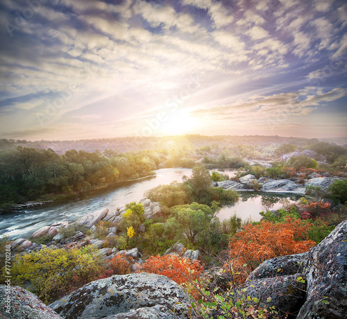 Spoed Foto op Canvas Lavendel Landscape with a mountain river flowing among the rocks