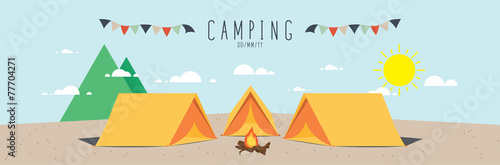 Fotografía  illustration vector of a campsite. (Day)