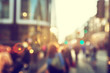 canvas print picture - people in bokeh, street of London