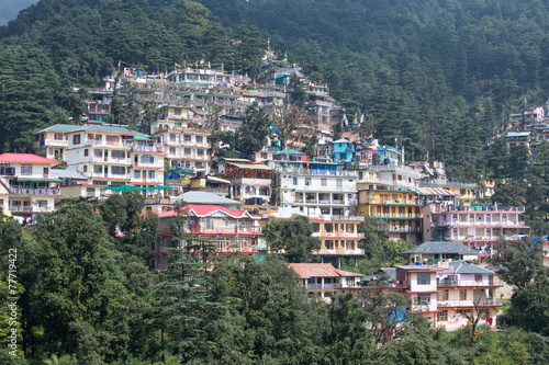 Stickers pour porte Delhi Houses at Himalaya mountains in Dharamshala, India