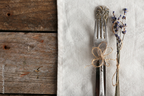 Photo  Silverware tied with rope