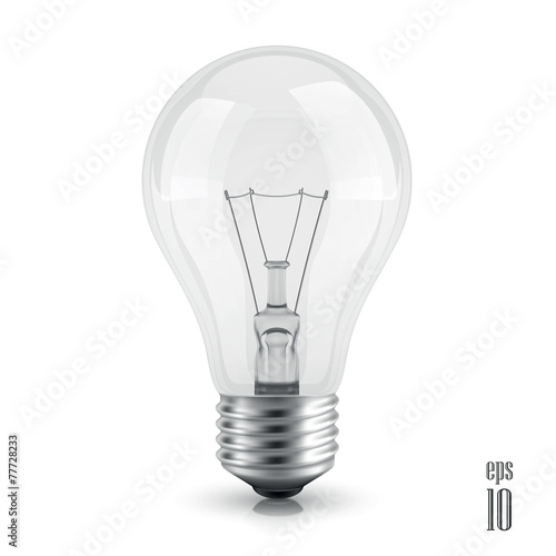 Fotografie, Obraz  light bulb realistic vector  isolated on white background
