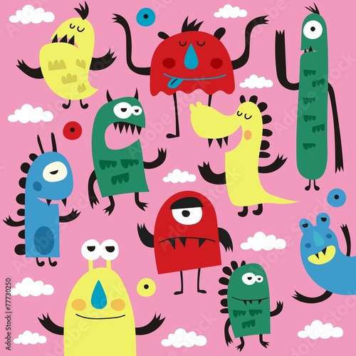 Poster Creatures monsters pattern design