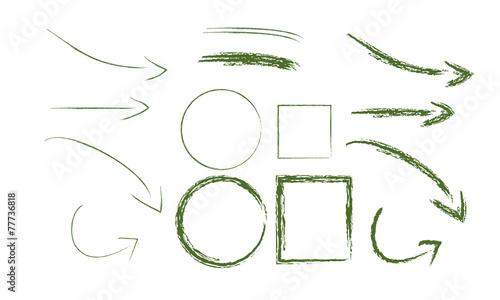 Fototapeta flèche carré cercle fusain crayon vecteur obraz