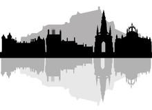 Edinburgh Skyline - Black And ...
