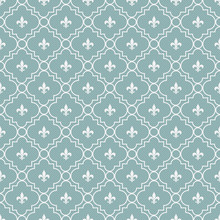 Teal And White Fleur-De-Lis Pa...