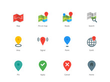 Map GPS And Navigation Color Icons On White Background.