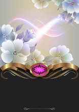 Decoraive Floral Background Wi...