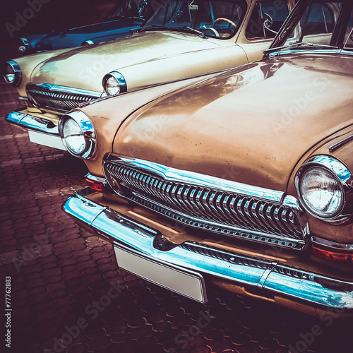 Keuken foto achterwand Vintage cars Old retro or vintage car front side. Vintage effect processing