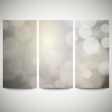 Blurry backgrounds set with bokeh effect. Abstract banners set