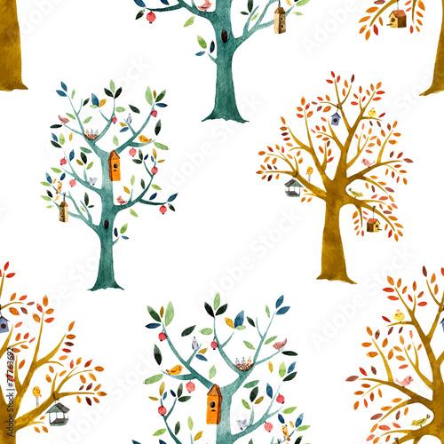 tlo-w-kolorowe-drzewa-wzor-dzieciecy-akwarela