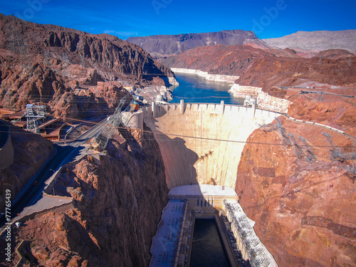 In de dag Dam Hoover Dam across the Border of Nevada and Arizona, USA