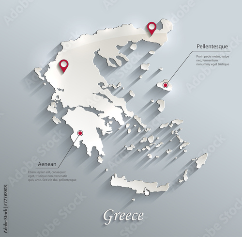 Photo Greece map blue white card paper 3D vector infographics