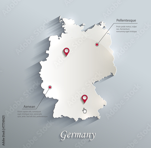Fotografie, Obraz  Germany map blue white card paper 3D vector