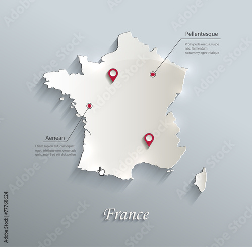 Photo France map blue white card paper 3D vector