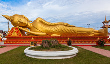Gold Reclining Buddha In Wat Si Saket In Vientiane, Laos