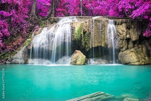 Foto op Canvas Watervallen Beautiful waterfall in autumn forest