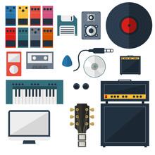 My Music Studio Instrument Flat Design