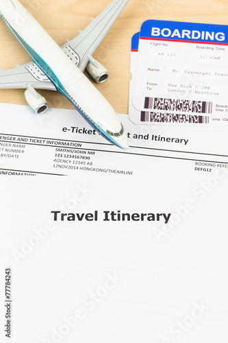 Travel Itinerary With Copy Space Plane Model And Boarding Pass