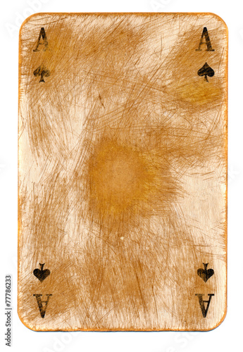 old rubbed ace of spades empty paper background Poster