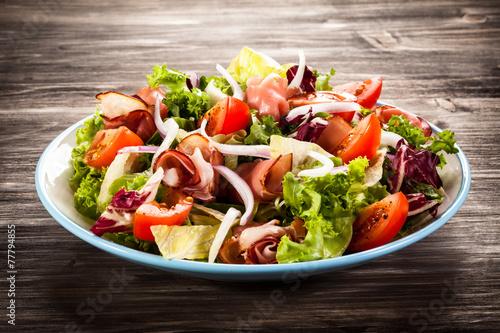Fotografie, Obraz  Smoked ham and vegetables