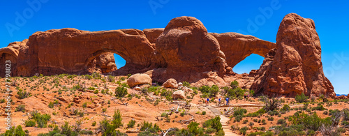Garden Poster Brown Arches National Park, panoramic view, Utah, USA