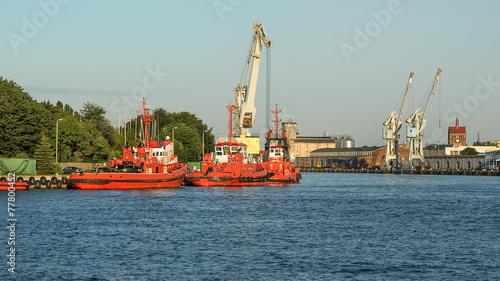 Fotobehang - Widok na Port Gdanski, Gdansk , Polska , Europa