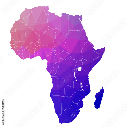 Pinturas sobre lienzo  Africa in the color triangle. Raster 1