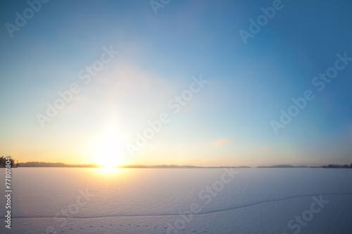 Láminas  Frozen lake and sunset