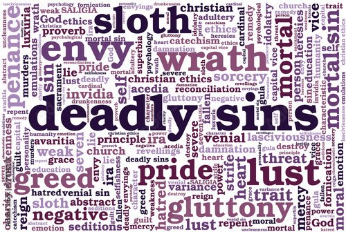 Cuadros en Lienzo Tag cloud related to seven deadly sins