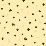 Cat theme seamless pattern with paw prints and claw scratches