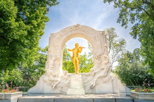 Spoed Fotobehang Wenen Johann Strauß Denkmal, Wiener Stadtpark