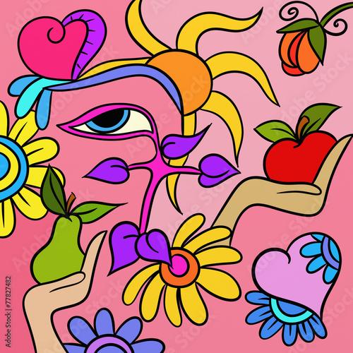 Foto op Canvas Klassieke abstractie pear and apple